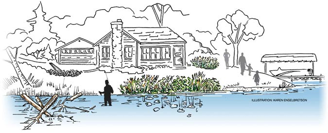 man fishing by lake home utilizing five healthy lakes best practices, Illustration: Karen Engelbretson