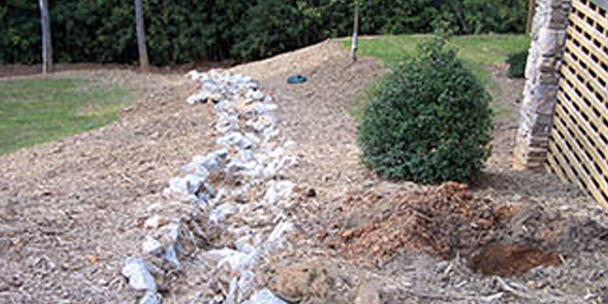 Diversion practice implemented on hillside of a home near shoreline