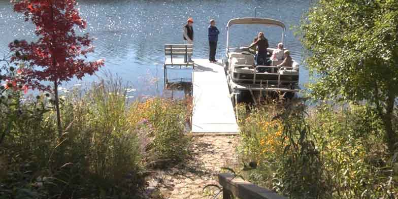 Pontoon boat filled with friendly neighbors visiting in front of shoreline containing 350ft2 native plantings